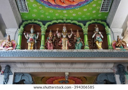 SINGAPORE -18 MARCH 2016- Located on Serangoon Road in Little India, the Sri Srinivasa Perumal Temple is one of the oldest Hindu temples in Singapore.