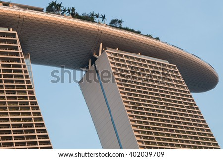 SINGAPORE - March 18, 2016 : Marina Bay Sands Hotel is an integrated resort fronting Marina Bay in Singapore. It is billed as the world's most expensive standalone casino property at S$8 billion