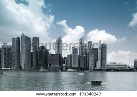 SINGAPORE-MARCH 27 : Panorama of Singapore on March 27, 2014 in Singapore. Central Business District (CBD), located at south of Singapore River, is the core financial and commercial districts.