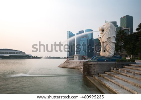 Singapore - March 19,2016 : Sunrise at Marina Bay on 19 March 2016.Marina Bay is a bay located in the Central Area of Singapore.