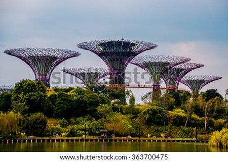 SINGAPORE - MARCH 12: The city center. Gardens by the Bay. Singapore, March 12, 2015 - stock photo