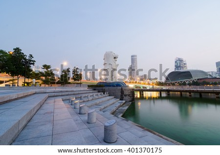 SINGAPORE - March 21 : The Merlion is an imaginary creature with a head of a lion and the body of a fish and is often seen as a symbol of Singapore.