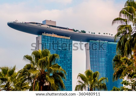SINGAPORE - MARCH 12: View of the hotel in the city center. Singapore, Marina Bay Sands. March 12, 2015