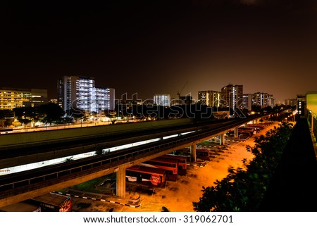 Singapore Mass Rapid Transit (MRT) Station in Eunos Area at night - stock photo