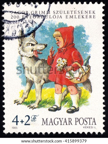 SINGAPORE â?? MAY 5, 2016: A stamp printed in Hungary issued for the Birth Centenary of Jacob Grimm (folklorist) shows Little Red Riding Hood, circa 1985. - stock photo