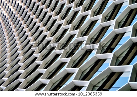 Singapore - May 5 2017: Abstract view of the curving facade of the Duo Tower on Beach Road
