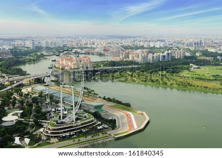 Singapore MAY 4, 2012: Aerial  view of singapore flyer in day time. - stock photo