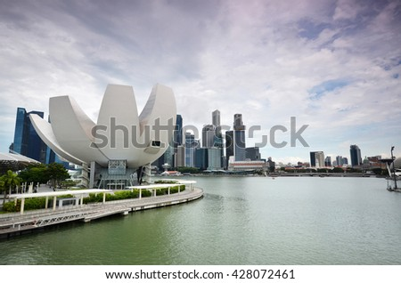 SINGAPORE-MAY 26, 2016: Art Science Museum as seen on in Singapore. It is one of the attractions at Marina Bay Sands.  - stock photo