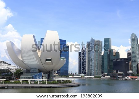 SINGAPORE - May 11: ArtScience Museum on May 11, 2014 in Singapore. It is one of the attractions at Marina Bay Sands. It has 21 gallery spaces with a total area of 6,000 square meters.