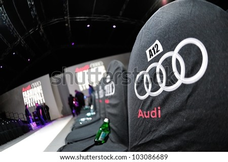 SINGAPORE - MAY 18: Audience seats beside the runway at Audi Fashion Festival 2012 on May 18, 2012 in Singapore