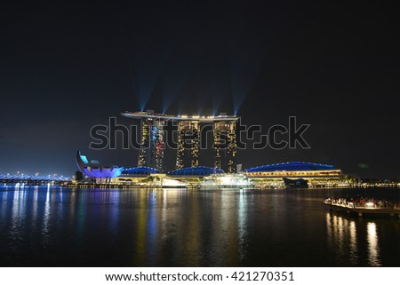 SINGAPORE - 05 MAY 2016: Beautiful Marina Bay Sands Light Show