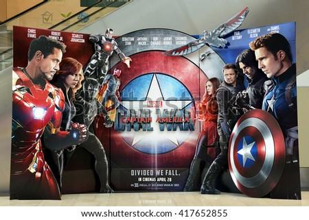 SINGAPORE - 07 MAY 2016 - Beautiful Standee of Captain America: Civil War display at the Shoppes at Marina Bay Sands - stock photo