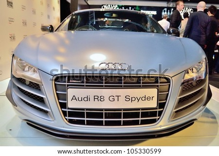 SINGAPORE - MAY 18: Front of Audi R8 GT Spyder on display at Audi Fashion Festival 2012 on May 18, 2012 in Singapore - stock photo