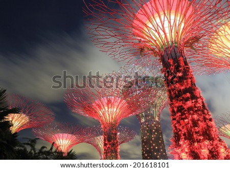 SINGAPORE - 28 May, 2014:Gardens by the bay Supertree Grove. Gardens by the bay is a park spanning 101 hectares of reclaimed land in central Singapore.  - stock photo