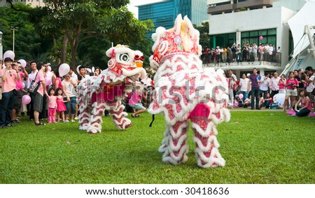 SINGAPORE - MAY 16: Lion Dance performance by Wen Yang Lion Dance at GLBT (Gay, Lesbian, Bisexual and Transgender) event, Pink Dot, held at Hong Lim Park May 16, 2009 in Singapore. - stock photo