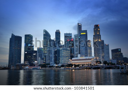 SINGAPORE-MAY 17: Panorama of Singapore on May 17, 2012 in Singapore. Central Business District (CBD), located at south of Singapore River, is the core financial and commercial districts.