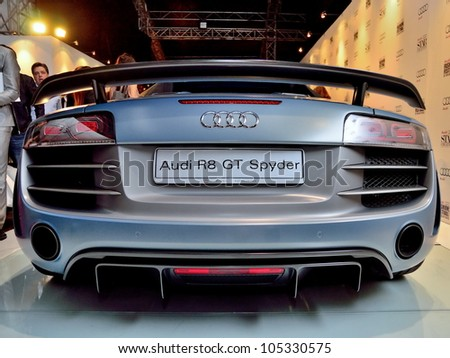 SINGAPORE - MAY 18: Rear of Audi R8 GT Spyder on display at Audi Fashion Festival 2012 on May 18, 2012 in Singapore - stock photo