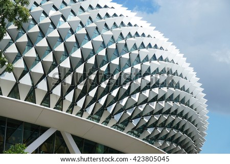 SINGAPORE - MAY 15, 2016: Rooftop details of Esplanade, Theatre on the bay.