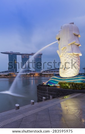 SINGAPORE, MAY 23: Singapore landmark Merlion, famous touristic attractions of Singapore, on May 23, 2015 in Singapore - stock photo