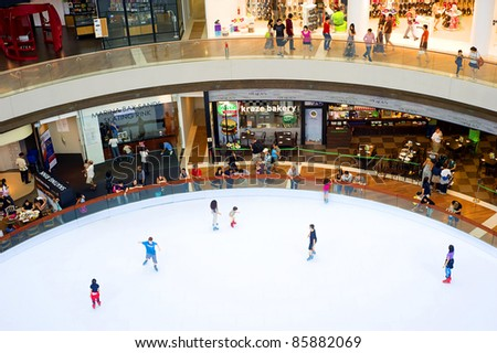 SINGAPORE - MAY 02: Sky rink in a shopping centre at Marina Bay Sands Resort on May 02, 2011 in Singapore. It is billed as the world's most expensive standalone casino property at S$8 billion
