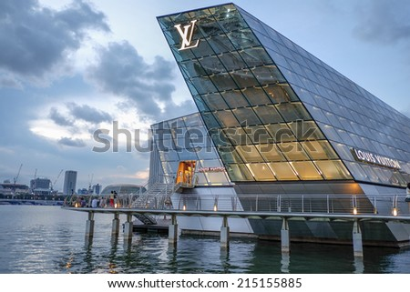 SINGAPORE - May 22: The futuristic building of Louis Vuitton shop in Marina Bay, Singapore on May 22, 2014. - stock photo