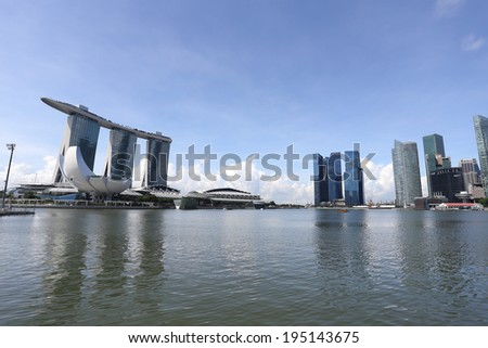 SINGAPORE - May 10: The Marina Bay Sands Resort Hotel on May 10, 2014 in Singapore. It is an integrated resort and the worlds most expensive standalone casino property