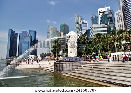 SINGAPORE MAY 12, 2012 : The Merlion is a traditional creature with a lion head and a body of a fish, seen as a symbol of Singapore.