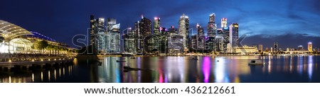 Singapore - May 20, 2016: Urban cityscape of Singapore. Skyline and modern skyscrapers of business district Marina Bay Sands at most financial developing Asian city state.