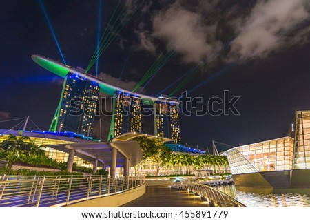SINGAPORE - MAY 29,2016 : Wonderful laser show at the marina bay waterfront in Singapore. - stock photo