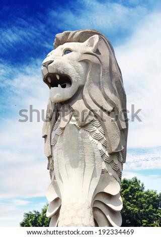 SINGAPORE - Merlion Statue on May 2, 2014 in Sentosa Island,  - stock photo
