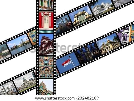 Singapore, metropolis in Asia. Illustration - film strips with travel memories. - stock photo