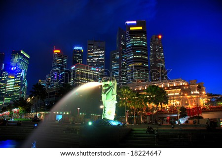 singapore midtown skyline at dark - stock photo
