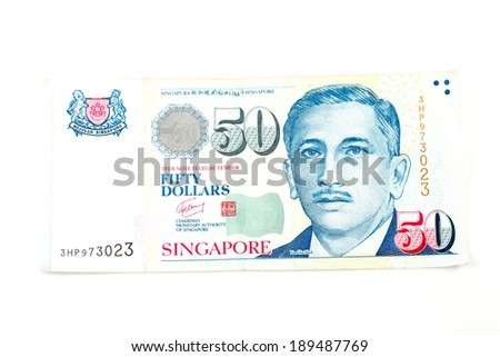 Singapore money on the white background - stock photo
