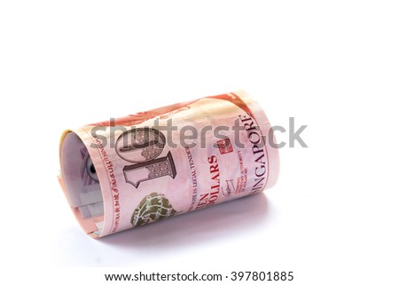 Singapore money on white background, various of singapore dollar banknote