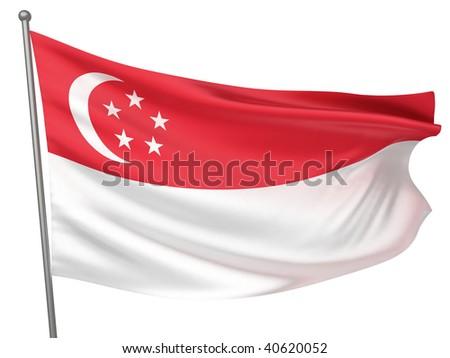 Singapore National Flag - stock photo