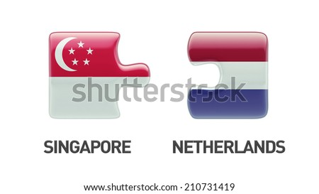 Singapore Netherlands High Resolution Puzzle Concept