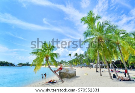 SINGAPORE -NOV 18 :aa at Sentosa Island, Singapore, Nov 18, 2015, Siloso Beach is favorite beach with coolest bars and restaurants located in the Island of Sentosa.