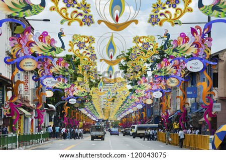 "SINGAPORE - NOV 04 : Colorful Banners were hung in Little India to celebrate the Indian festival - Deepavali, popularly known as the ""festival of lights"" on Nov 04, 2012 in Singapore. - stock photo"