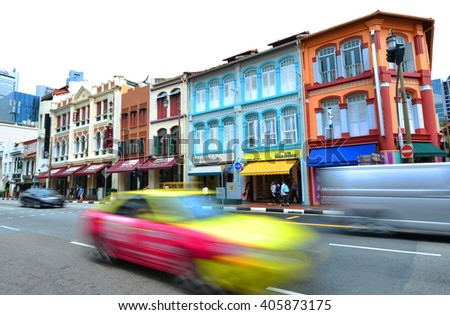 SINGAPORE -18 Nov. 2015- Colorful Peranakan houses in the Chinatown area of Singapore. - stock photo