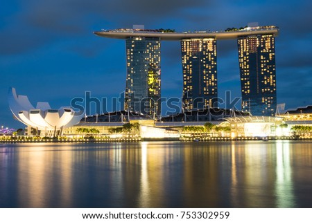 SINGAPORE-Nov 30, 2016: Marina Bay Sands Hotel at dusk