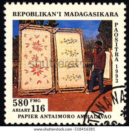 SINGAPORE ?? NOVEMBER 14, 2016: A stamp printed in Malagasy shows Murals, circa 1993.