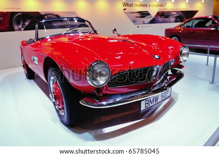 SINGAPORE - NOVEMBER 14: Classic BMW 507 convertible at BMW World Singapore 2010 at Marina Bay Sands Expo November 14, 2010 in Singapore - stock photo