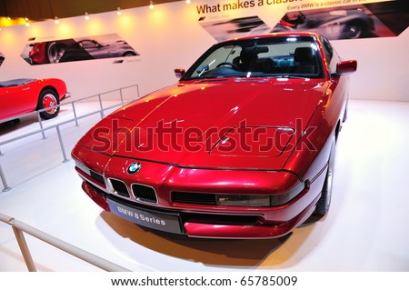 SINGAPORE - NOVEMBER 14: Classic BMW 8 series coupe at BMW World Singapore 2010 at Marina Bay Sands Expo November 14, 2010 in Singapore - stock photo