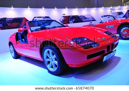 SINGAPORE - NOVEMBER 14: Classic BMW Z1 convertible at BMW World Singapore 2010 at Marina Bay Sands Expo November 14, 2010 in Singapore - stock photo
