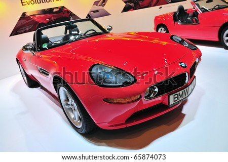 SINGAPORE - NOVEMBER 14: Classic BMW Z8 convertible at BMW World Singapore 2010 at Marina Bay Sands Expo November 14, 2010 in Singapore - stock photo