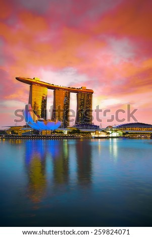 SINGAPORE  - NOVEMBER 16: Marina Bay Sands, an integrated resort fronting Marina Bay, November 16, 2014, Singapore. The wold's most expensive standalone casino property. - stock photo