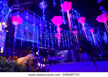 SINGAPORE- NOVEMBER 27, 2015: Nightview of Mystica Decorations at Night Safari, Singapore. Theme of this year is Be enchanted by a world of magical lights. - stock photo