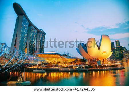 SINGAPORE - NOVEMBER 6: Overview of the marina bay with the Marina Bay Sands on November 6, 2015 in Singapore. - stock photo