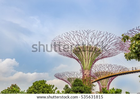 singapore november 19 2016 supertrees at gardens by the bay close up