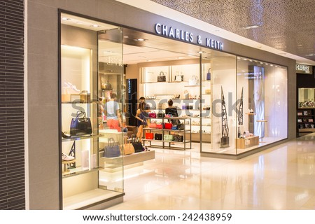 SINGAPORE - OCT 19 : CHARLES & KEITH store at ION Orchard shopping mall on October 19, 2014. It was founded by Charles and Keith Wong. Dedicated to bringing trends to fashion-forward consumers.